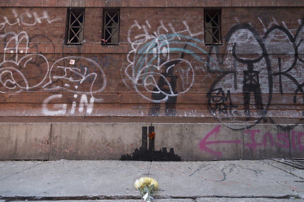 Banksy in Tribeca with Flowers