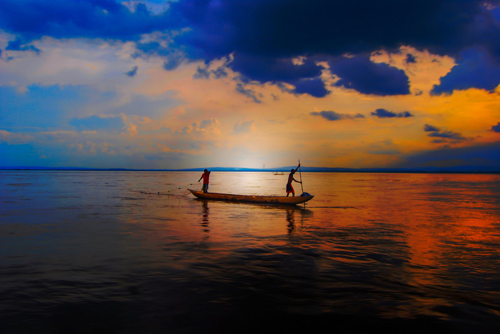 Pirogue on the Congo River