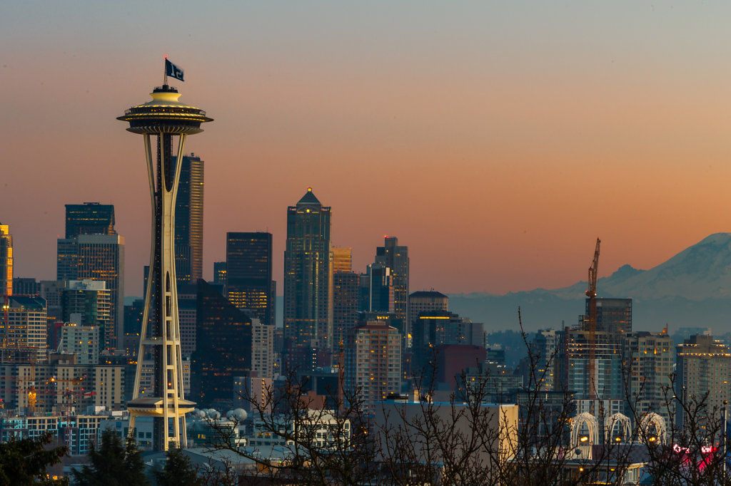 The Space Needle at Sunset with Mount Rainier as a Backdrop