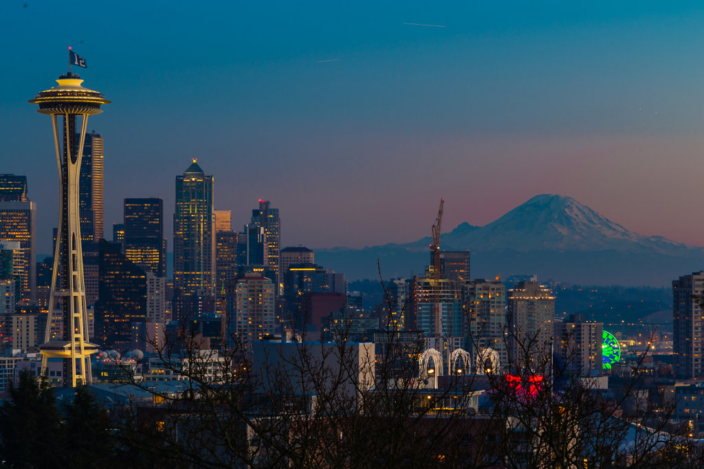 The Seattle Skyline and Mount Rainier the day after the Seahawks Won