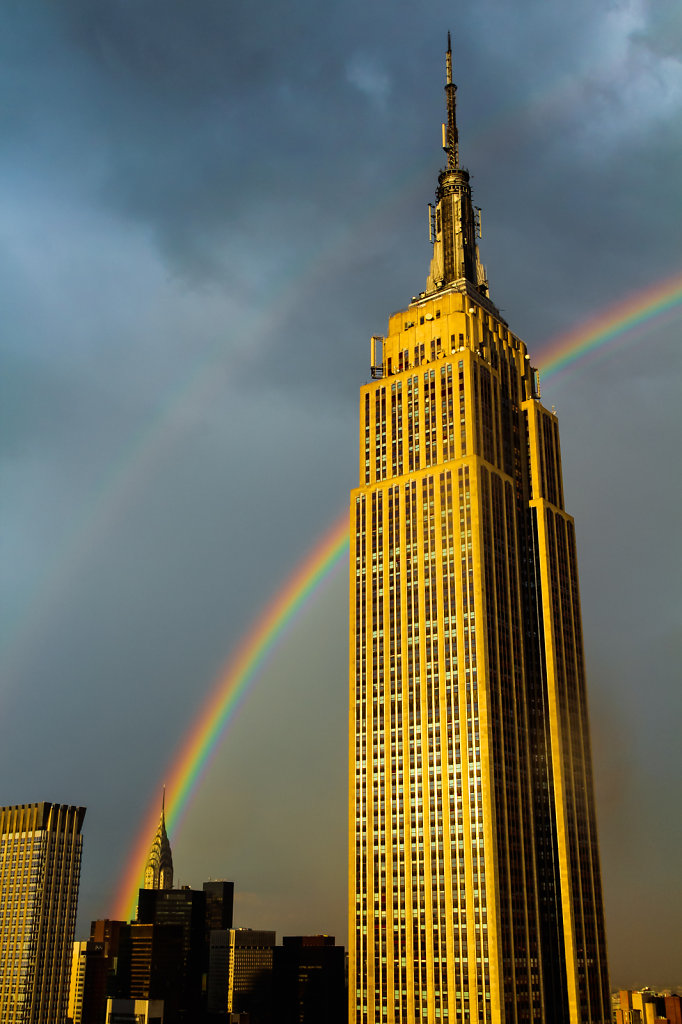 Double Rainbow Behind the Empire State Building & Chrysler Build