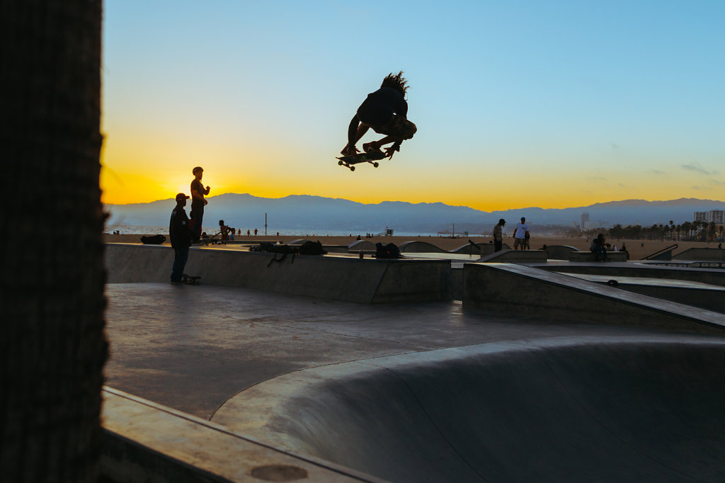 Venice Beach Skate Park at Sunset